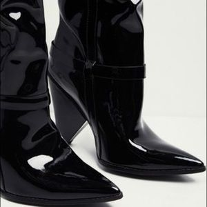 Shoes - Vinyl/ Patent Thigh High Western Cone Heel Boots